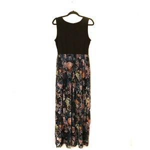 ECI Full-Length Black & Floral Dress | L
